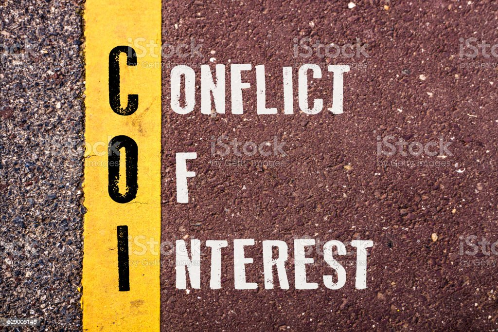 CONFLICT OF INTEREST  words concept stock photo