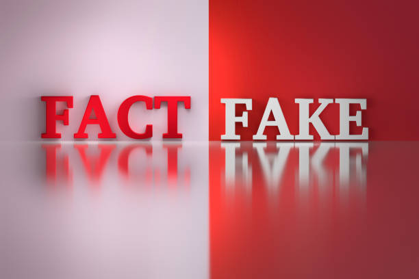 Words - Fact and fake stock photo