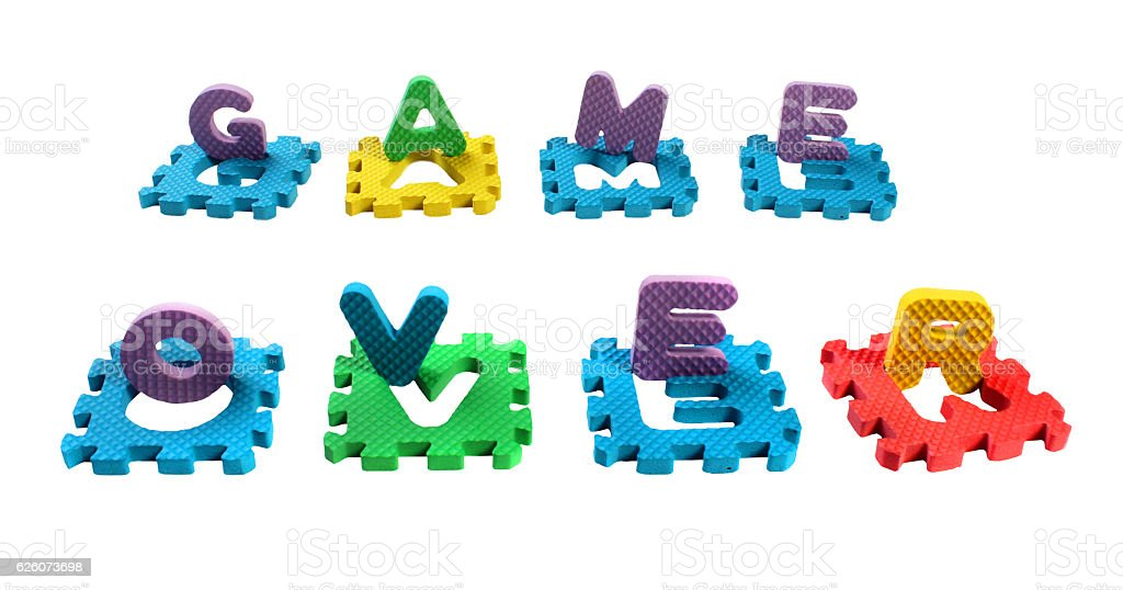 Words Game Over composed of cut out plastic letters stock photo