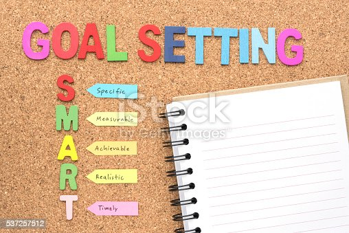 istock Words goal setting and smart with notebook 537257512