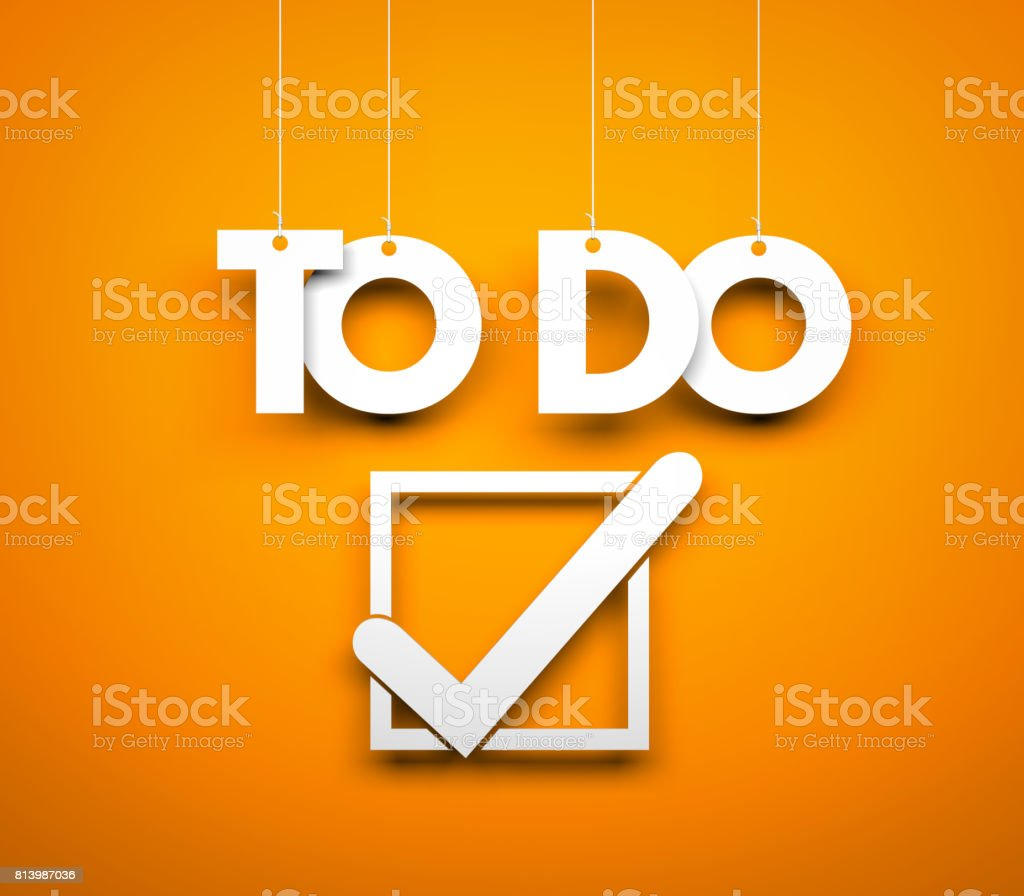 TO DO - words hanging on orange background. 3d illustration stock photo