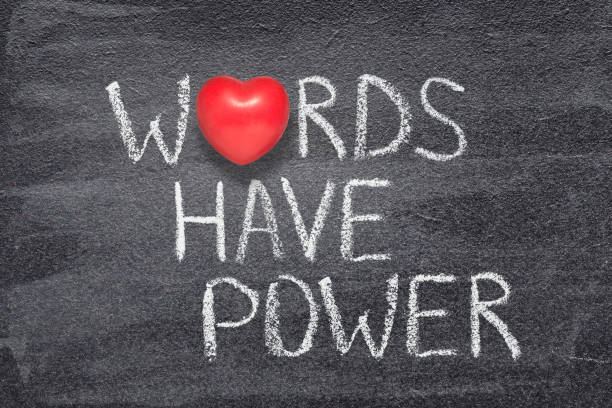 words have power heart words have power phrase written on chalkboard with red heart symbol instead of O single word stock pictures, royalty-free photos & images