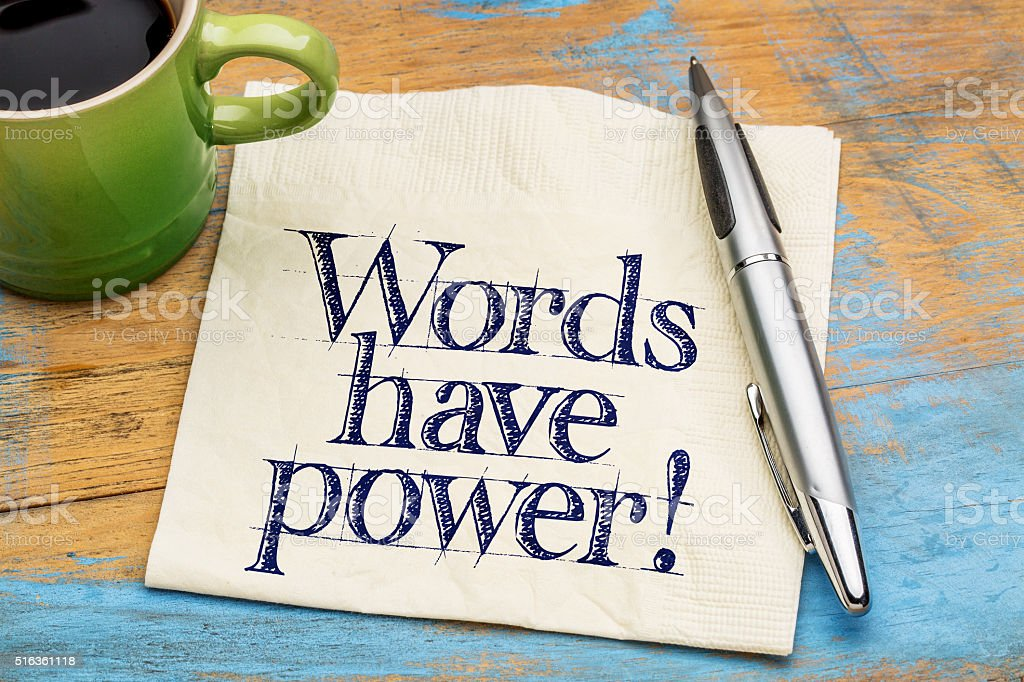 Words have power - napkin note stock photo