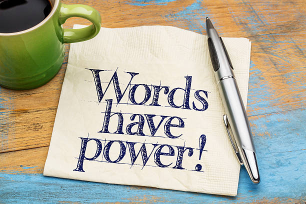 words have power - napkin note - single word stock photos and pictures