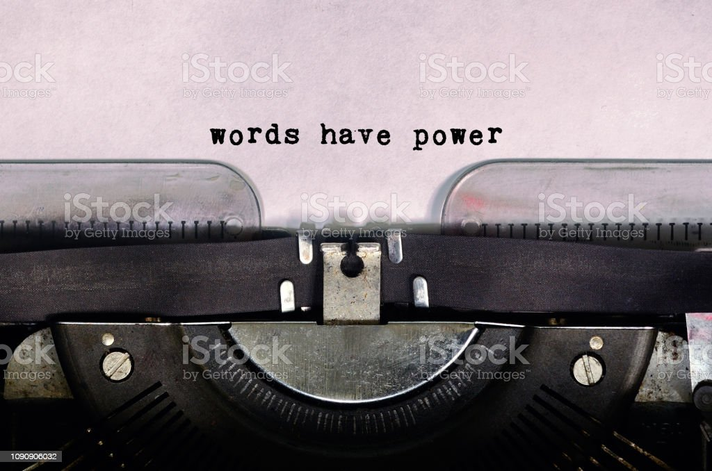 Words Have Power Text Type on Vintage Typewriter stock photo