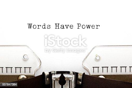 istock Words Have Power Typewriter 537847384