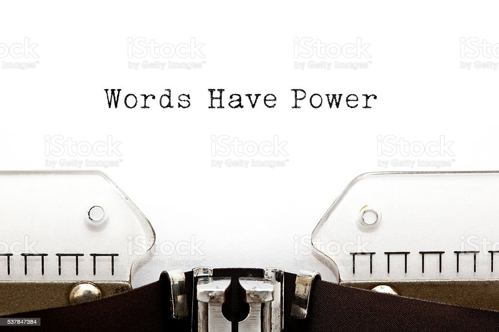 Words Have Power Typewriter stock photo