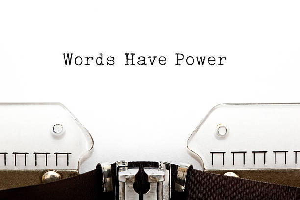Words Have Power Typewriter Words Have Power typed on vintage typewriter. single word stock pictures, royalty-free photos & images