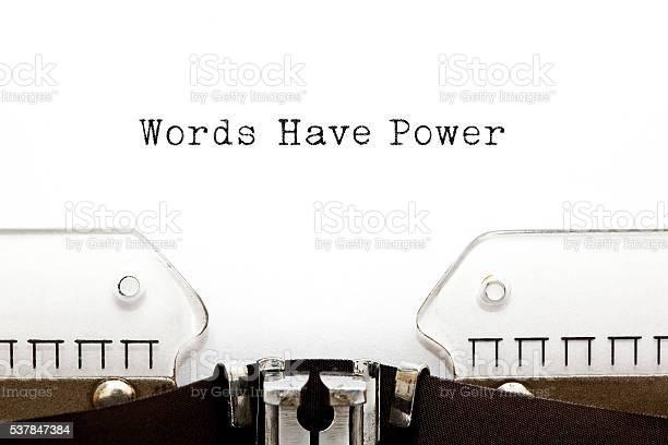 Words Have Power typed on vintage typewriter.