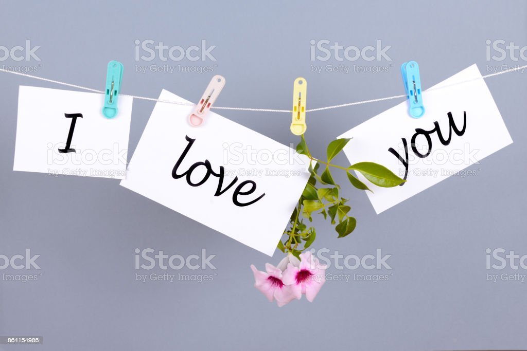 Words I love you on the white paper and hanging on the cord royalty-free stock photo