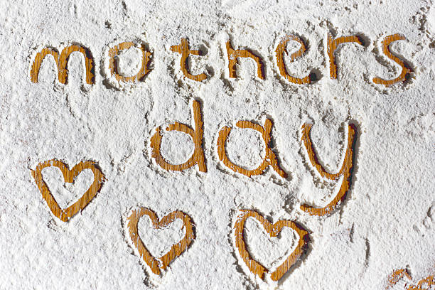 words in flour - happy mothers day type stock photos and pictures