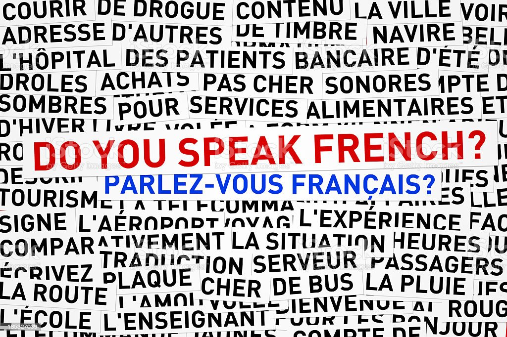 Words in French with English words do you speak French  stock photo