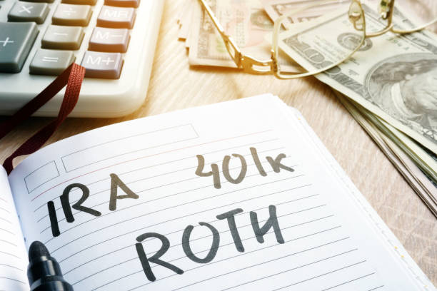 Words IRA 401k ROTH handwritten in a note. Retirement plans. stock photo