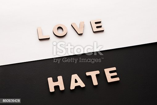 istock Words Love and Hate on contrast background 850926428