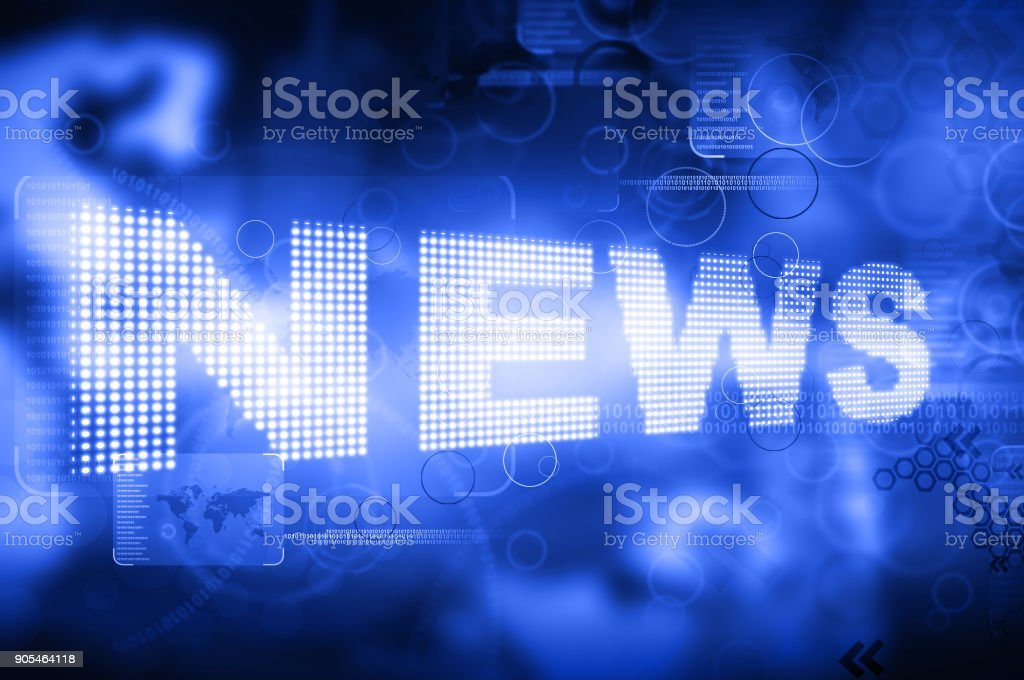words News on digital red background stock photo