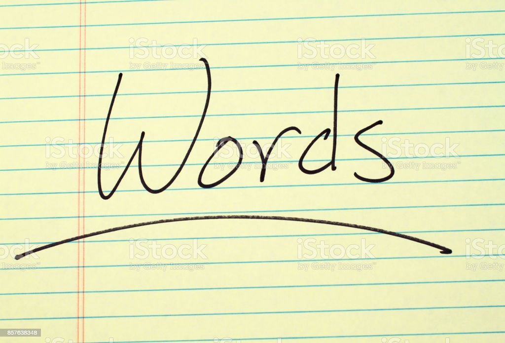 Words On A Yellow Legal Pad stock photo