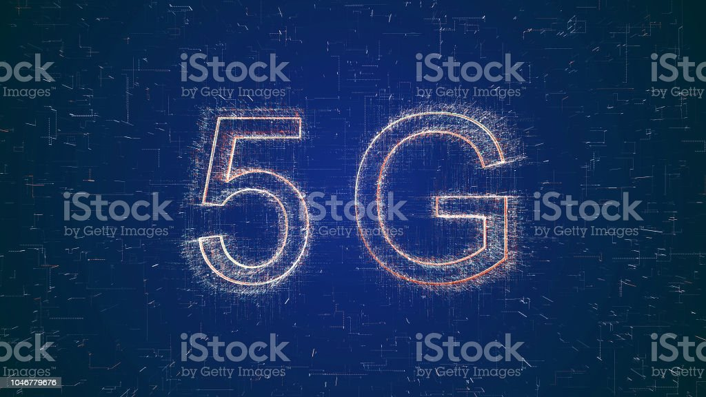 5G words on digital tablet stock photo