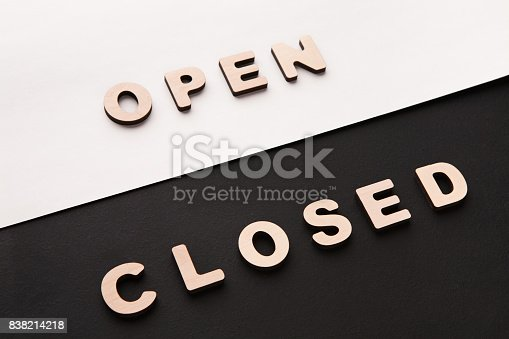 istock Words Open and Closed on contrast background 838214218