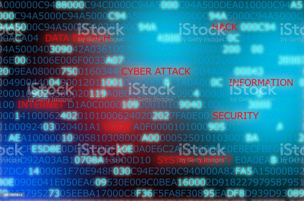 Attaque informatique mots technologie sécurité code mis en surbrillance dans fond du code informatique - Photo