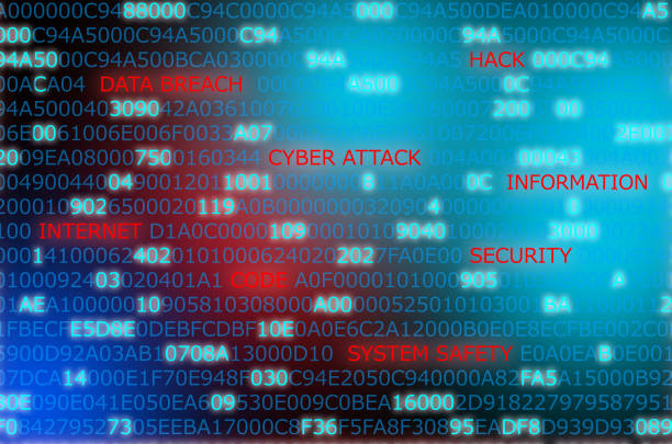 Words technology security code computer attack highlighted in against computer code background stock photo