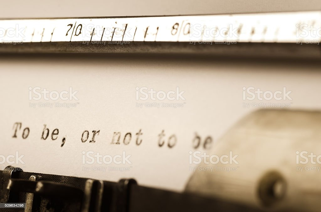 words to be or not to be  written on typewriter stock photo