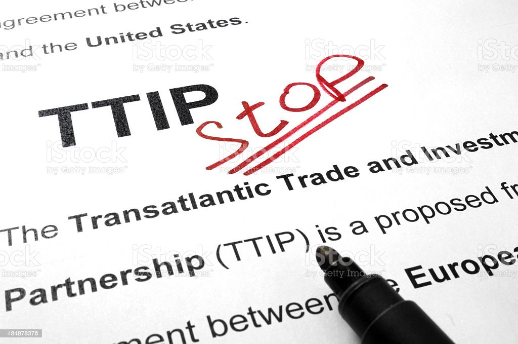 Words TTIP stop on a paper and marker. stock photo