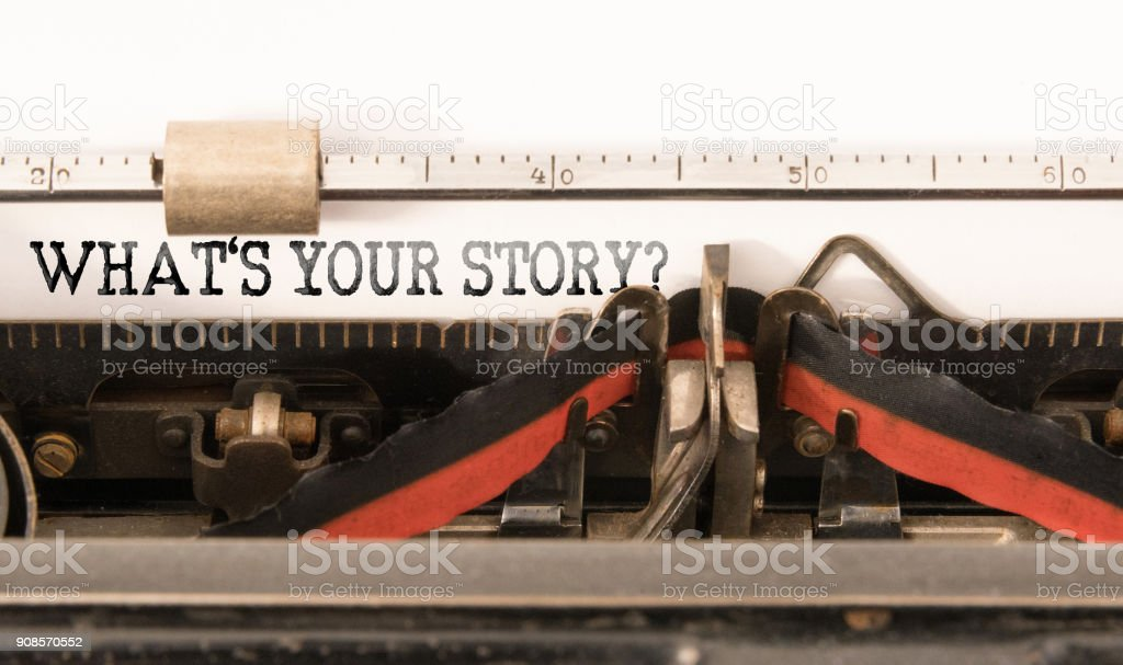 Was ist IHRE Geschichte auf Vintage manuelle Schreibmaschine geschrieben Wörter – Foto