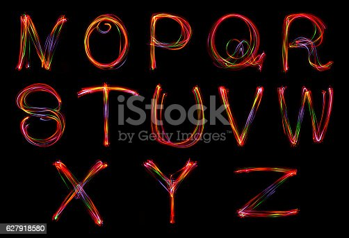 istock Words writing from light. 627918580