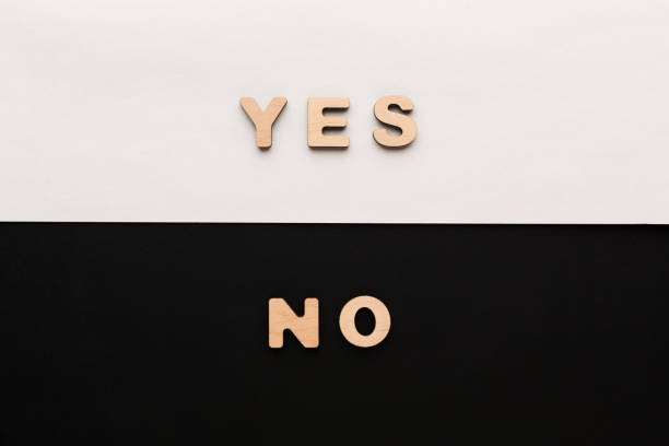 Words Yes and No on contrast background stock photo