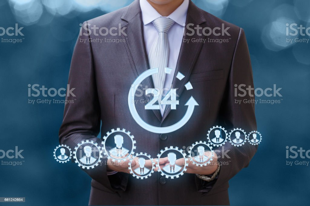 Work 24 hours a day . stock photo