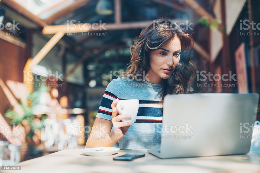 Work and coffee stock photo