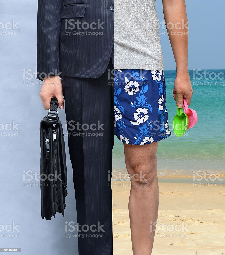 Work and holiday wear (relaxation and stress concept) stock photo