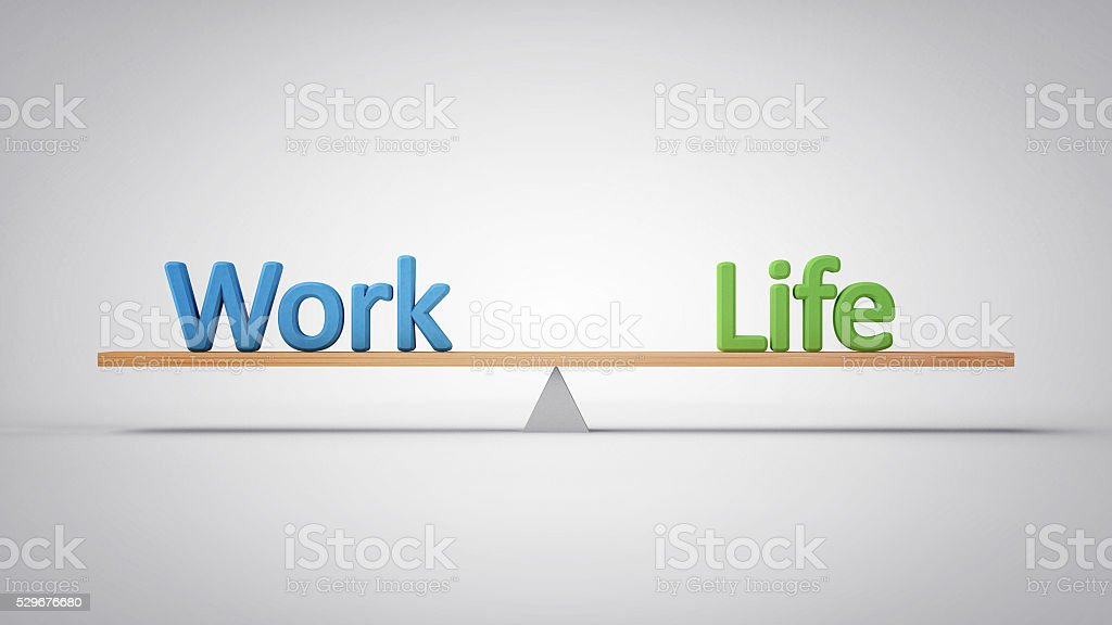 Work and Life Balance - (3D Illustration) stock photo