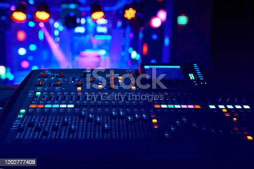 DJ work at a nightclub, Music club party, Concert equipment, a mixer and DJ console. The concept of disco, entertainment, holiday. Soft focus picture.