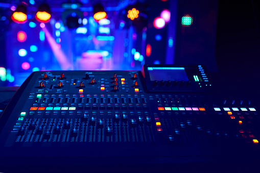 istock DJ work at a nightclub, Music club party, Concert equipment, a mixer and DJ console. The concept of disco, entertainment, holiday. Soft focus picture 1202777409