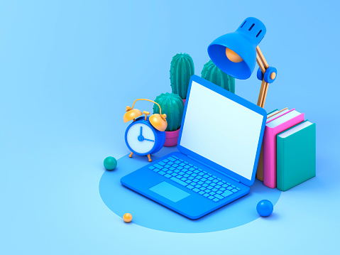 Laptop, books, cactuses, desk lamp  and alarm clock over blue background. 3d rendering