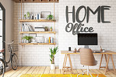Work at Home Concept Home Office Interior. 3d Render