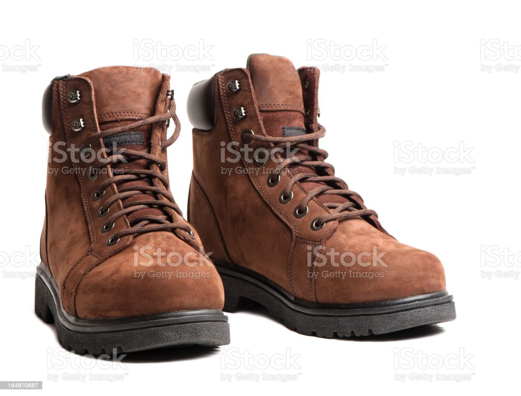 Work Boots Isolated on White Background royalty-free stock photo