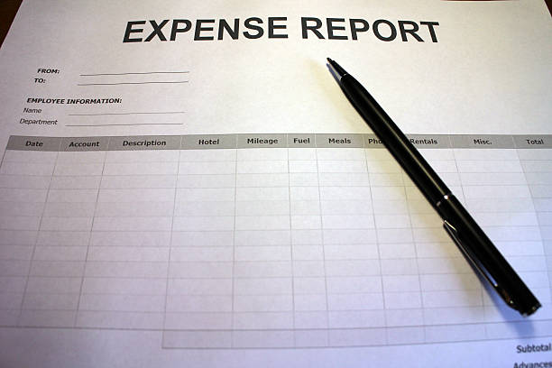 Work Expense Report Form stock photo