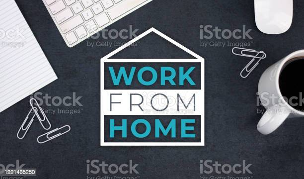 Work from home remote working text with desk computer keyboard and picture id1221465250?b=1&k=6&m=1221465250&s=612x612&h=iylhz47 4 egas96vpneswhpr7huf qew4hxtpd74i4=