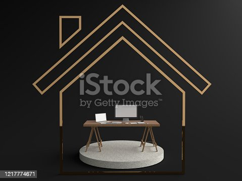 Work from home. Simulation of laptops, computers, keyboard and Smartphone white screen resting on a wooden table on Round stone pedestal in the house symbol, Isolated on black background. 3D rendering