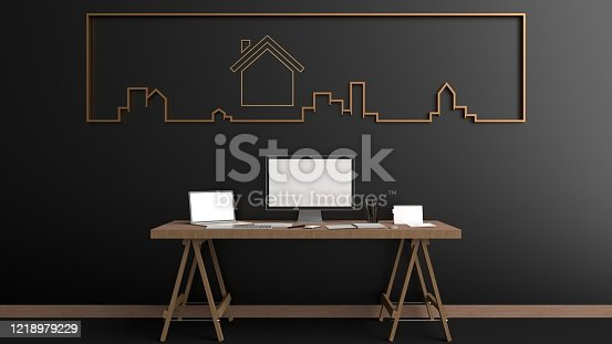 Work from home. Simulation of laptops, computers, keyboard and Smartphone white screen resting on a wooden table In front of the Black wall with gold picture frame attached, illustration, 3D rendering
