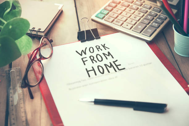 work from home text on page stock photo
