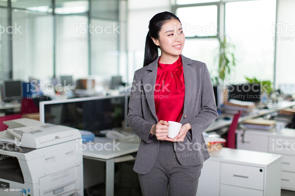 girl drink coffee at work