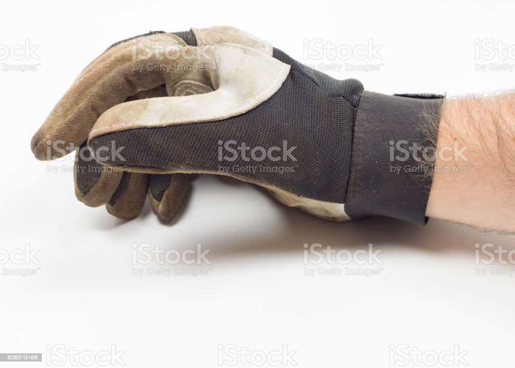 Work glove with hand and arm stock photo