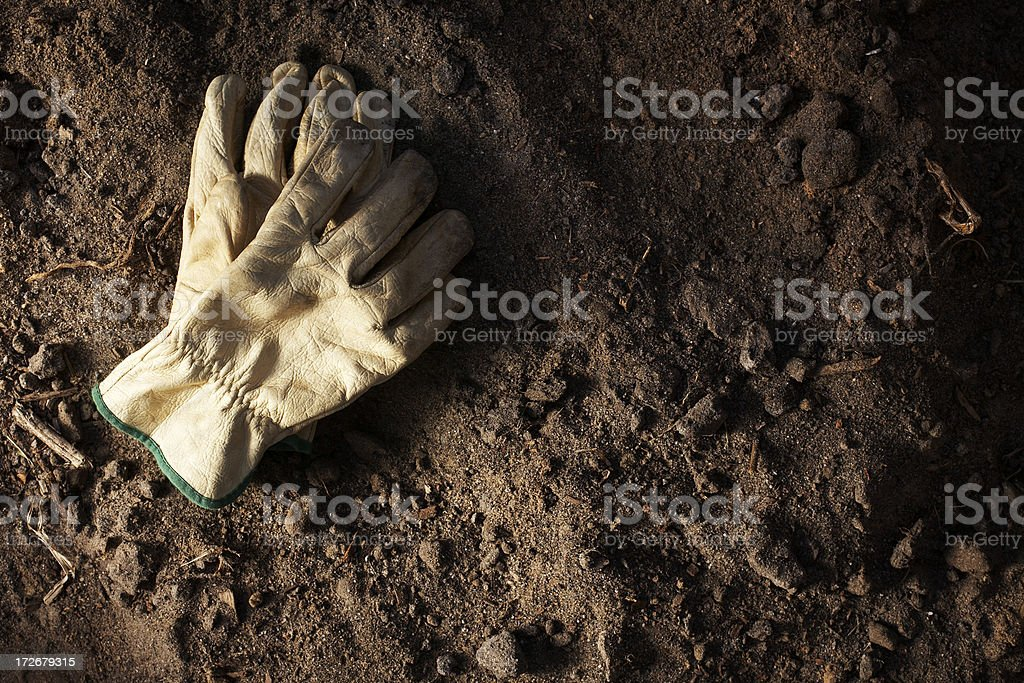 Work gloves in dirt stock photo