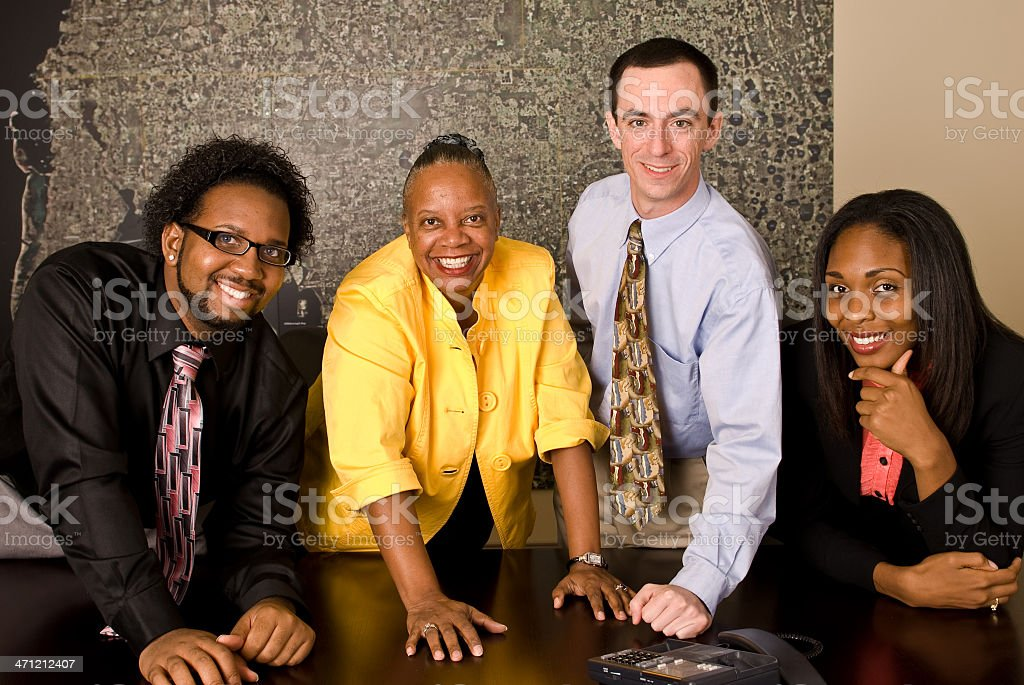 Work group on a conference call stock photo
