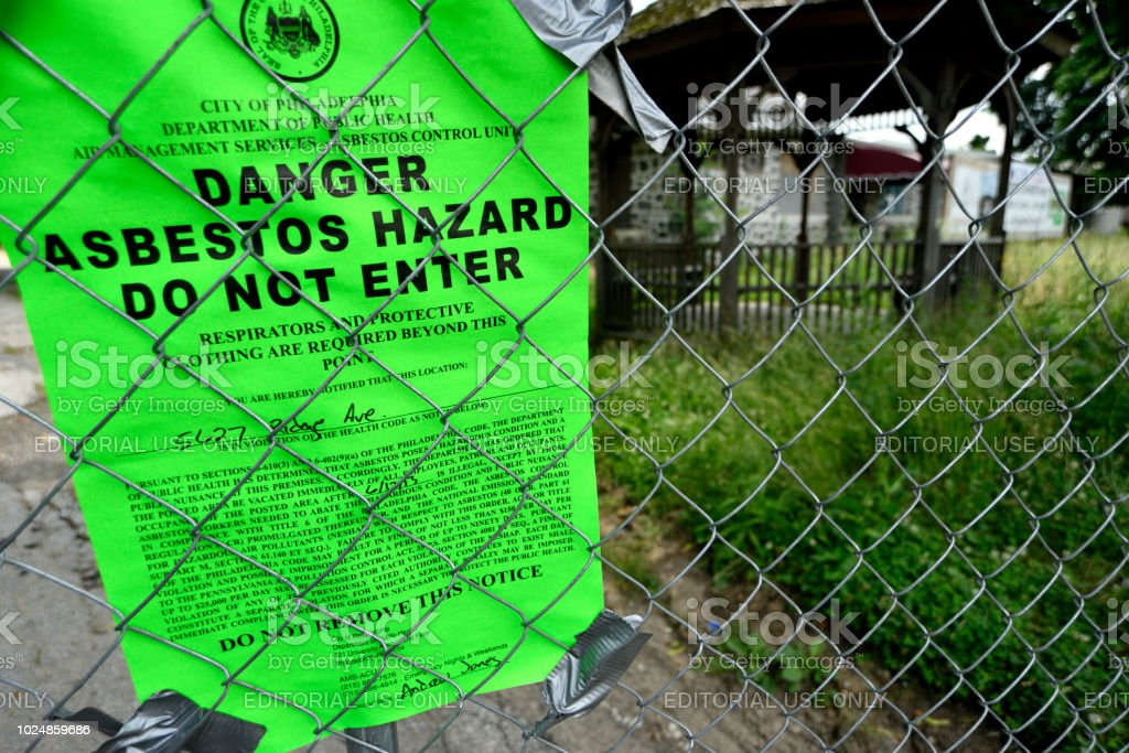 Work halted after asbestos found at demolition site in Philadelphia, PA stock photo