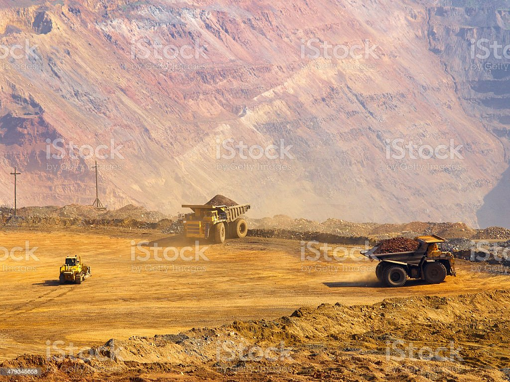 Work in open-cast mine stock photo