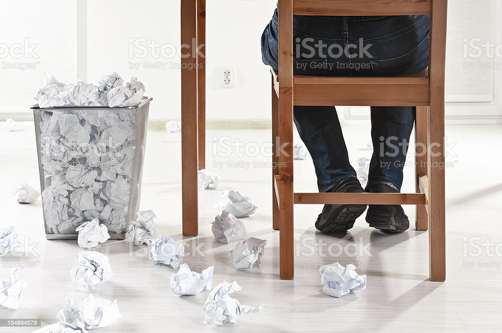Work in progress, creativity block, paper balls scattered royalty-free stock photo